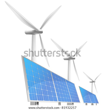illustration of panels with solar cells and reflection and wind generators in behind, eps8 vector