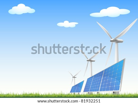 illustration of panels with solar cells and wind generators on a green field with blue sky, eps8 vector