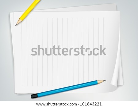 Illustration of paper and pencils