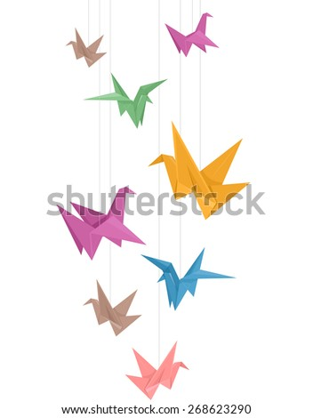 Illustration Of Paper Cranes Different Colors Hanging From Strings