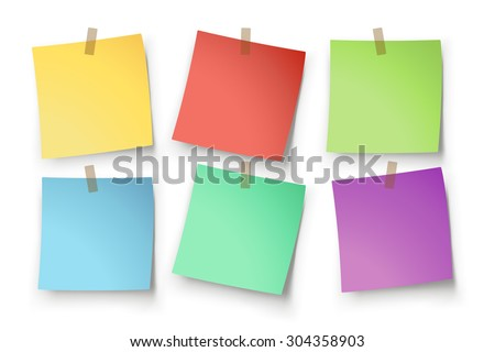 illustration of paper lists set with different color and shadow