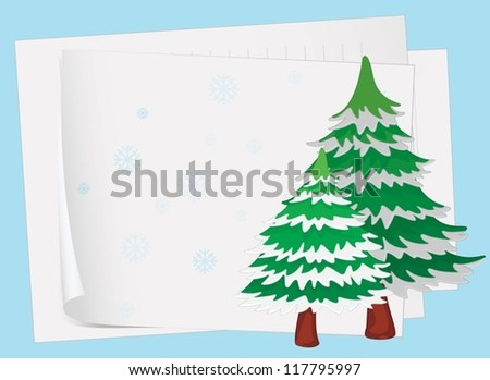 illustration of paper sheets and a christmas tree on a colored background