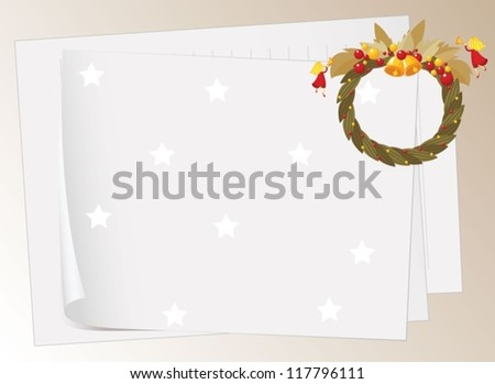 illustration of paper sheets and bells on a white background - stock vector