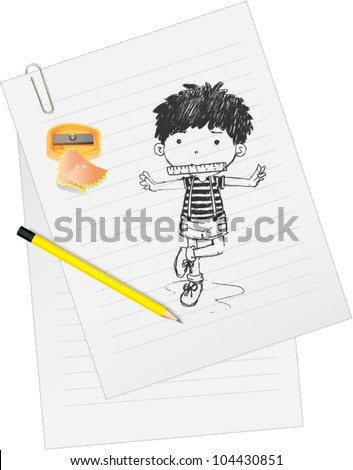 Illustration of paper with sketch