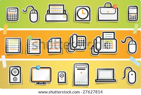 Illustration of papercut icon set - Office Series.