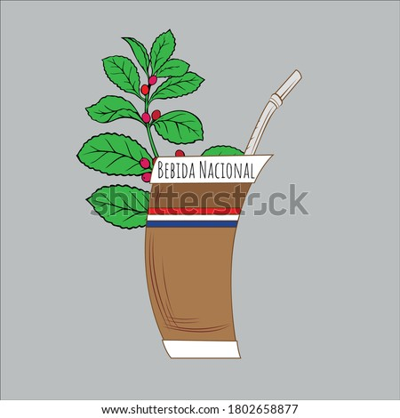 Illustration of Paraguayan guampa with yerba mate, national drink of Paraguayan terere vector Foto d'archivio ©