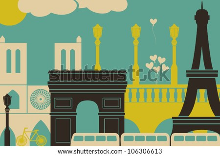 Illustration of Paris symbols and landmarks.