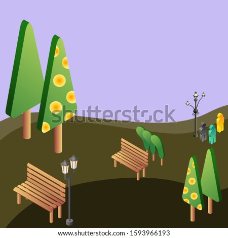 Illustration of park, vector of green park design, park design isolated.