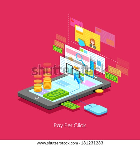illustration of Pay per Click concept in flat style