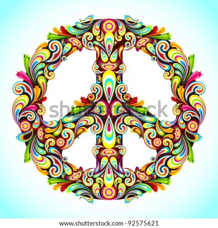 illustration of peace sign made