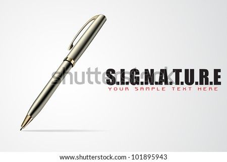 illustration of pen on abstract signature background