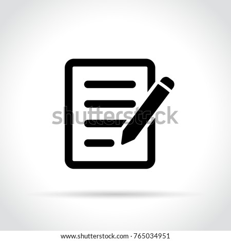 Illustration of pencil with paper icon