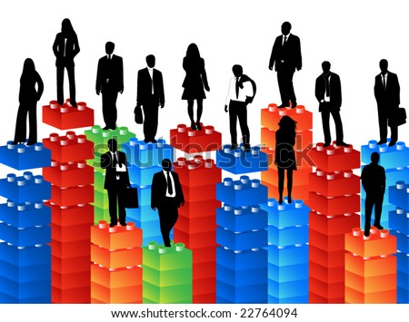 Illustration of people and lego cubes