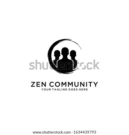 Illustration of people community work silhouette template logo with zen sign