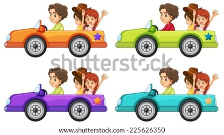 illustration of people on a car