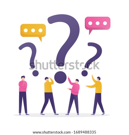 illustration of people standing under question marks and chat symbols. concept Frequently asked questions or FAQs, question marks around people, online support center. flat design.