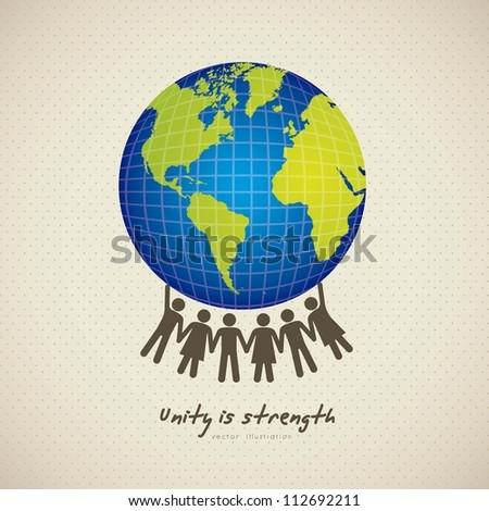 illustration of people united by holding the planet earth, vector illustration