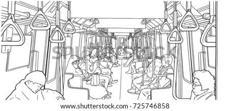 Illustration of people using public transport; train, subway, metro