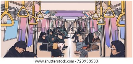 Illustration of people using public transport; train, subway, metro in color