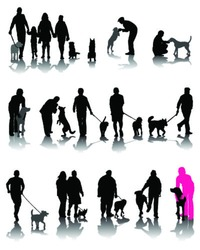 Illustration of people with dog and shadow 3-vector