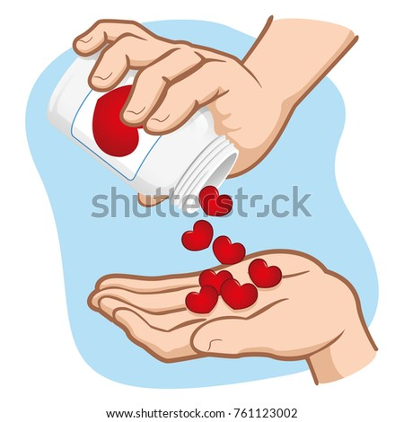 Illustration of person, hands picking up hearts in a jar, doses of love and affection, caucasian. Ideal for motivational and emotional materials
