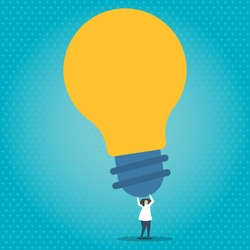 Illustration of Person Holding Above his Head Big Yellow Bulb. Human Standing and Raising Arms Upward with Huge Lightbulb. Background for Thinking of Many Great Ideas and Concepts.