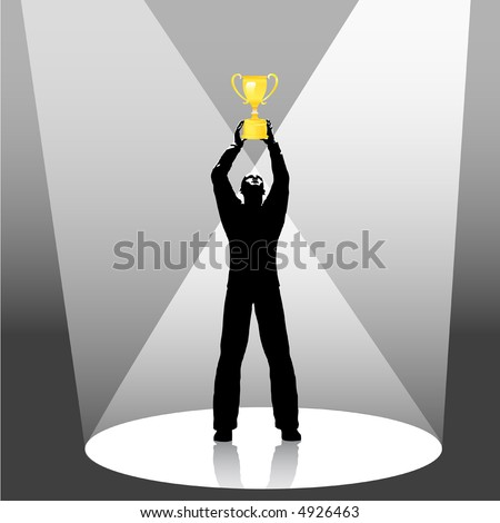 Illustration of person holds gold trophy up in spotlight. Concept of people winning sports, business, life.