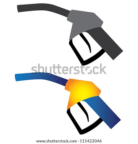 Illustration of petrol nozzle used for gas filling in black & white and in yellow, orange and blue colors on white background. This can be used by petroleum industry, oil and gas companies
