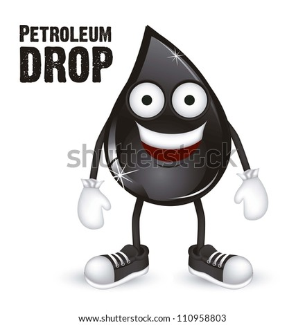 Illustration of petroleum drop shoes and gloves, vector illustration