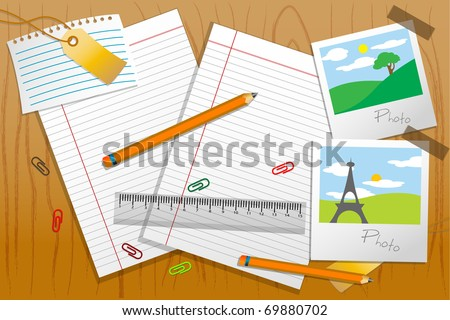 illustration of photo with stationary and paper on table