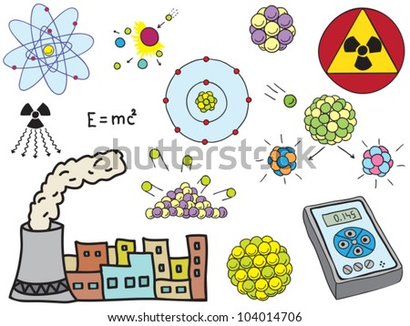 Illustration of Physics - atomic nuclear energy - hand-drawn symbols