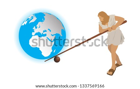 illustration of physics, Man use wooden levers to move the world Stock photo ©