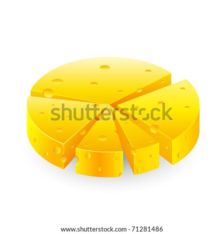 illustration of pie chart made of cheese on white background