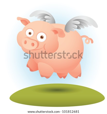 illustration of pig flying with