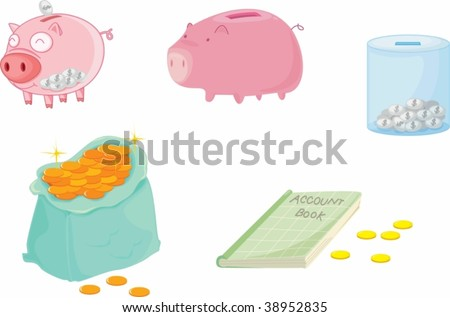 illustration of piggy bank on white