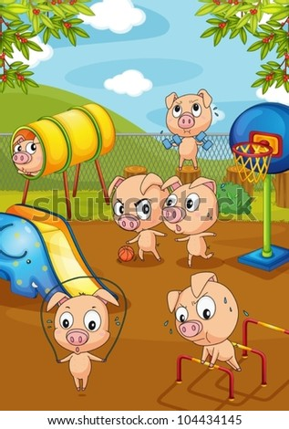 Illustration of pigs working out