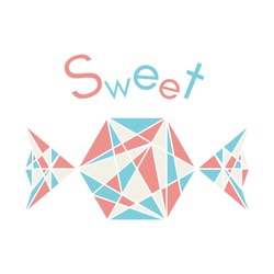 Illustration of pink and blue polygonal origami candy isolated on white background. Sweet vector illustration.