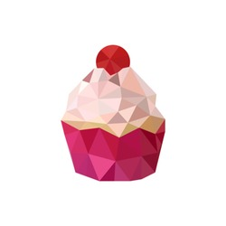 Illustration of pink triangular design cupcake isolated on white background