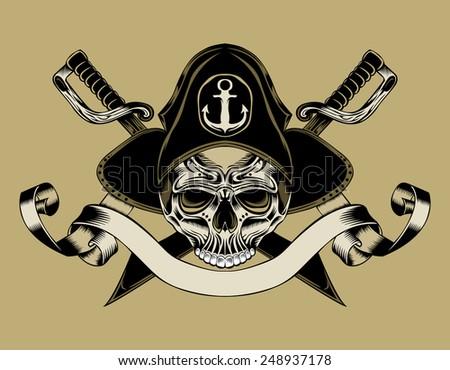 illustration of pirate skull