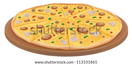 illustration of pizza on a white background