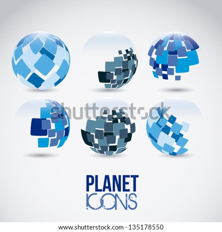 Illustration of planet earth icons and sphere, vector illustration