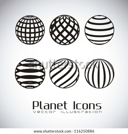 illustration of planet earth icons, in gray background, vector illustration