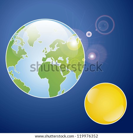 Illustration of planet earth receiving energy from the sun, in the universe