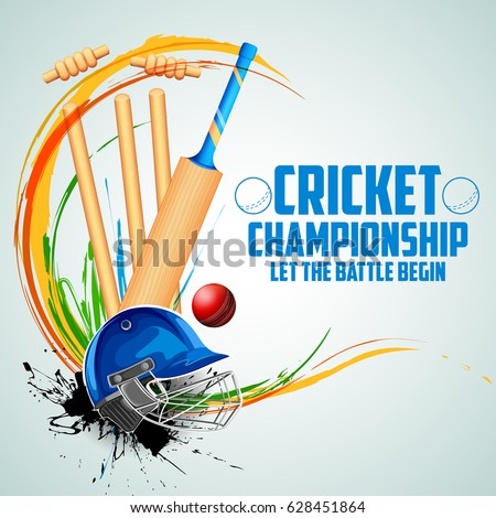 illustration of Player bat, ball and helmet on cricket sports background