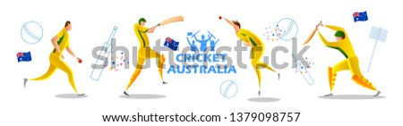 illustration of Player batsman and bowler of Team Australia playing cricket championship sports