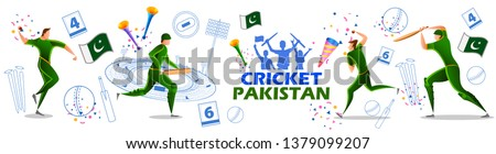 illustration of Player batsman and bowler of Team Pakistan playing cricket championship sports