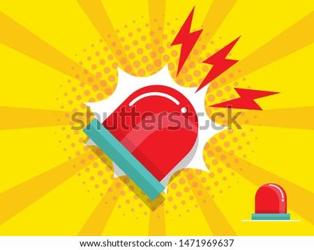 illustration of police and emergency siren alert flashing light vector flat design Stockfoto ©