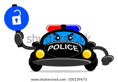 illustration of police car with traffic sign
