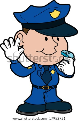 Illustration of policeman with hand up and whistle