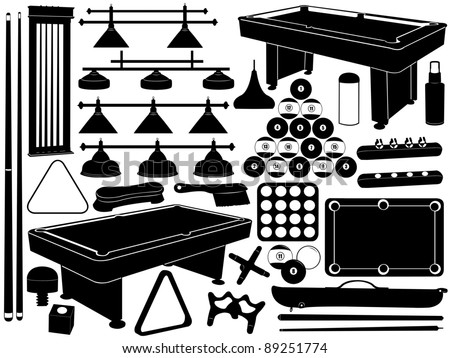 pool table clip art black and white. illustration of pool equipment table clip art black and white